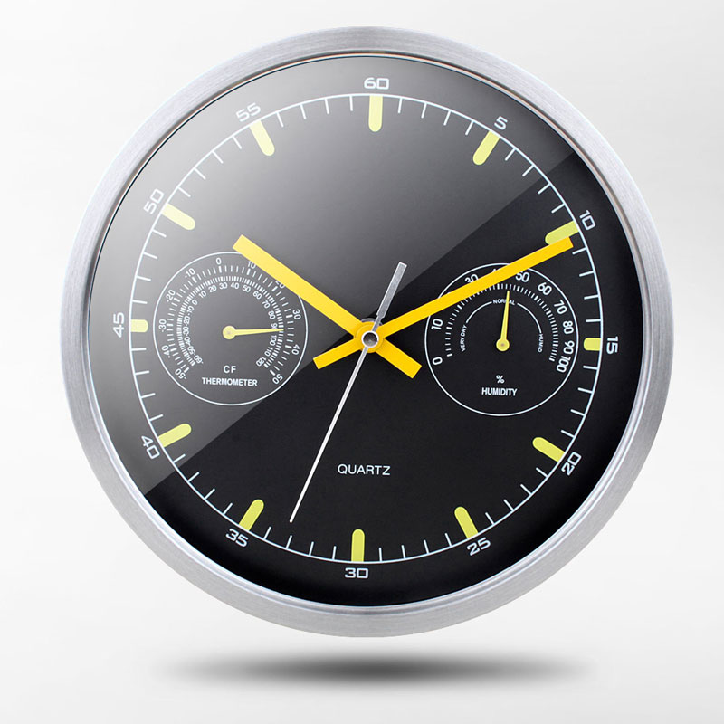 10in Diameter 25.5CM Modern Design Creativity Silent Wall Clock Temperature Humidity Kitchen Living Room Decoration Wall Watches