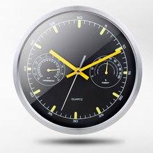 Modern Design Silent Movement Wall Clock Temperature Humidity