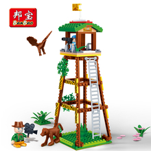 Купить с кэшбэком BanBao Educational Building Bricks Watch Tower National Zoo Animal Blocks Compatible With Lego Kid Children Model Toys 6659