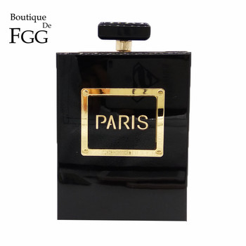Boutique De FGG Women Fashion Clutches Purse Perfume Bottle Crossbody Shoulder Bags Laides Black Acrylic Box Clutch Evening Bag