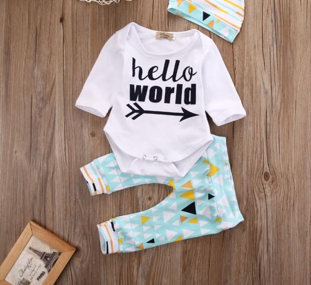 baby 3PCS Set Newborn Baby Boy Girl Tops Romper + Long Pants Long Sleeve Cotton Hat Outfits Santa elk cothes 0-24M