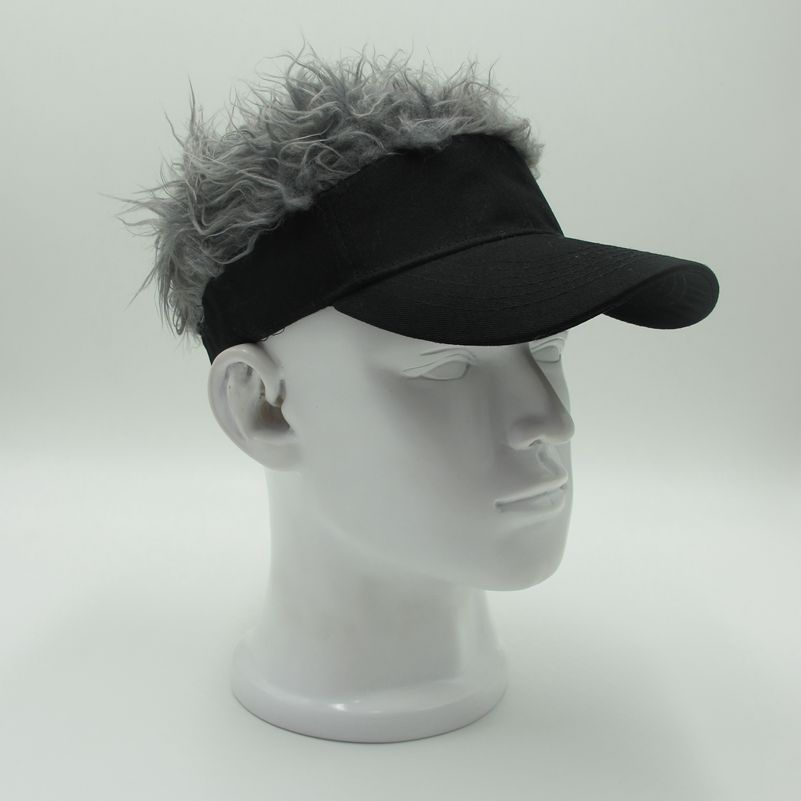 2018 Novelty Ladies Baseball Cap Fake Flair Hair Male Sun Visor Hats Men Womens Toupee Wig Funny Hair Loss Cool Gifts Golf Cap