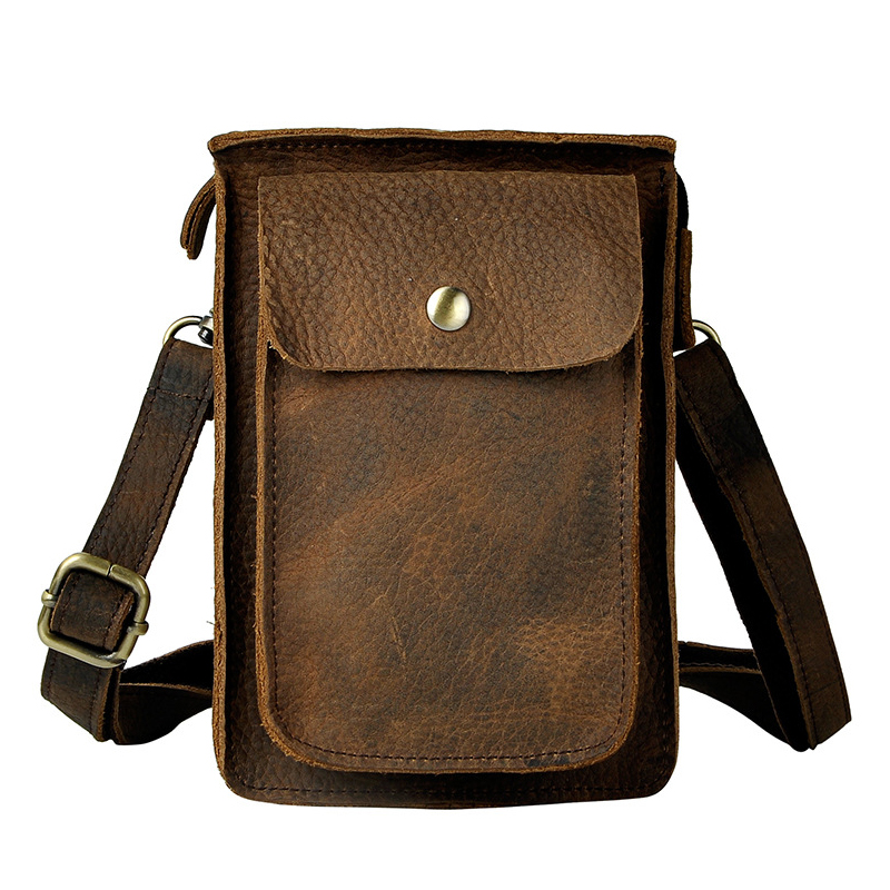 Vintage Oil Bags Genuine Leather Waist Bag Men Retro Mobile Phone Camera Leg Pocket 7 Inch Small Crossbody Shoulder Bags the imported oil wax pattern leather singel shoulder satchel small men s messager bag retro 7 inch for outdoor tourism