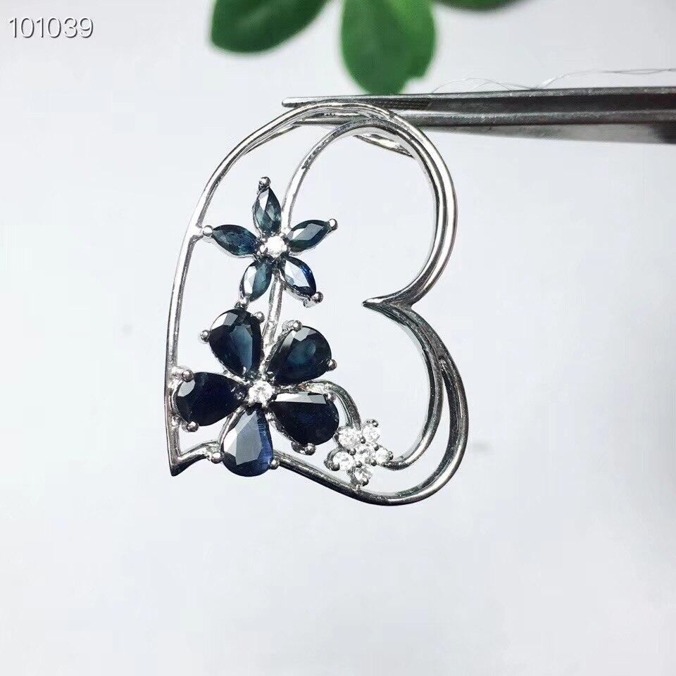Pendentif saphir Style fleur livraison gratuite saphir naturel et véritable pendentif en argent sterling 925