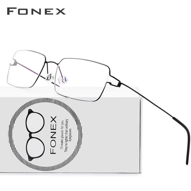 FONEX Titanium Alloy Glasses Frame Men Prescription Eyeglasses Korean Denmark Women Myopia Optical Frame Screwless Eyewear 98606