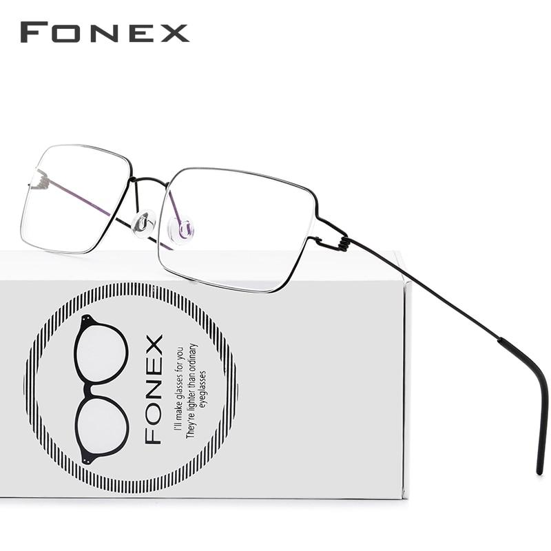 FONEX Titanium Alloy Glasses Frame Men Prescription Eyeglasses Korean Denmark Women Myopia Optical Frame Screwless Eyewear 98606