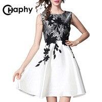 2017 Women Vintage Flower Lace Embroidery Pleated Midi Dress Elegant Fashion Brand Sleeveless Casual A Line