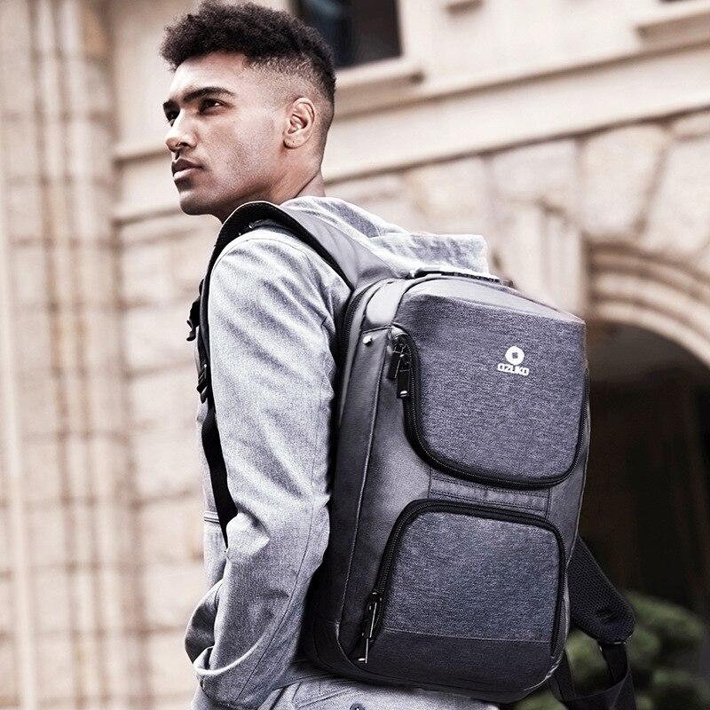 OZUKO 15.6 pouces sac à dos pour ordinateur portable hommes Anti-vol USB Charge sac à dos pour adolescent étanche voyage sac à dos homme sac d'école Mochila - 2