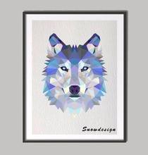 Geometric Wolf Head Poster