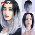 Ombre Grey Bob Wig Short Haircut Heat Resistant Synthetic Wig Non Lace Wig 2 tones Black Grey Cosplay Wig Carnival Halloween