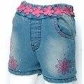 3-7 Anos Meninas Lace floral Bordado Denim Shorts, calças de verão multi Strass calças jeans Novo 2016 MH1652