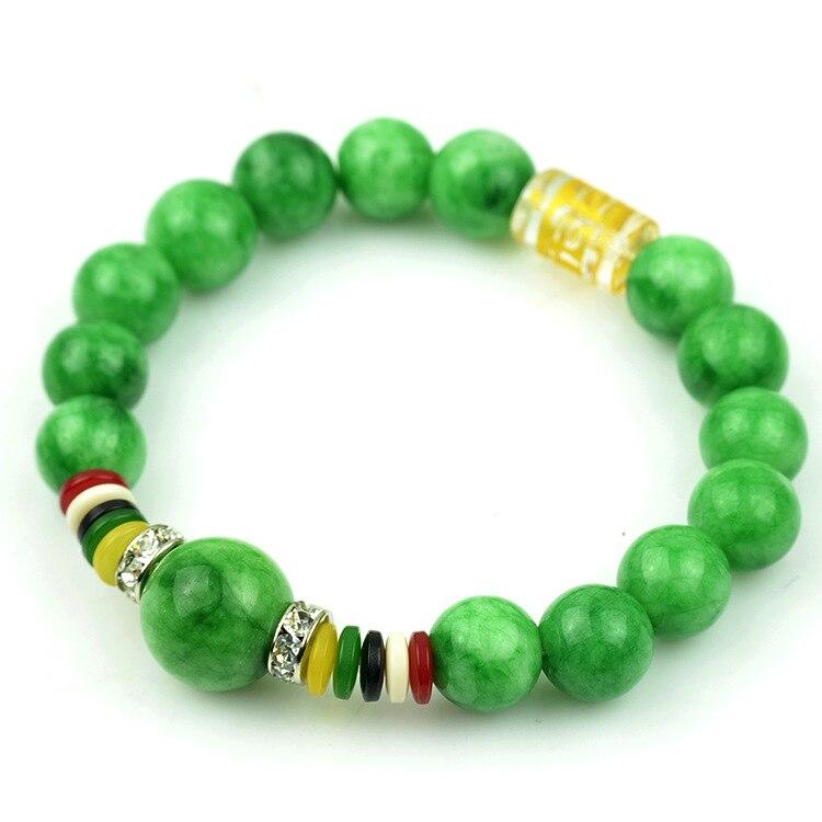 9157774c1da6 Mujeres únicas suerte naturaleza pulsera de piedra verde 10mm Cuentas  piedra brazalete Brazaletes rhinestone Amuletos Buda Brazaletes