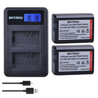 Batmax 2Pcs NP FW50 NP FW50 npfw50 Battery+LCD Dual USB Charger for Sony Alpha a6500 a6400 a6300 a6000 a5000 a3000 NEX 3 a7R