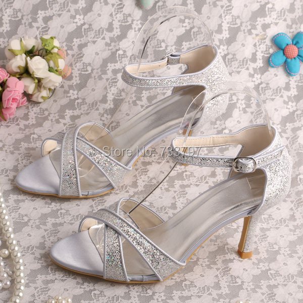 Wedopus MW335 Women Silver Glitter Party Wear Evening Shoes Heeled Pumps