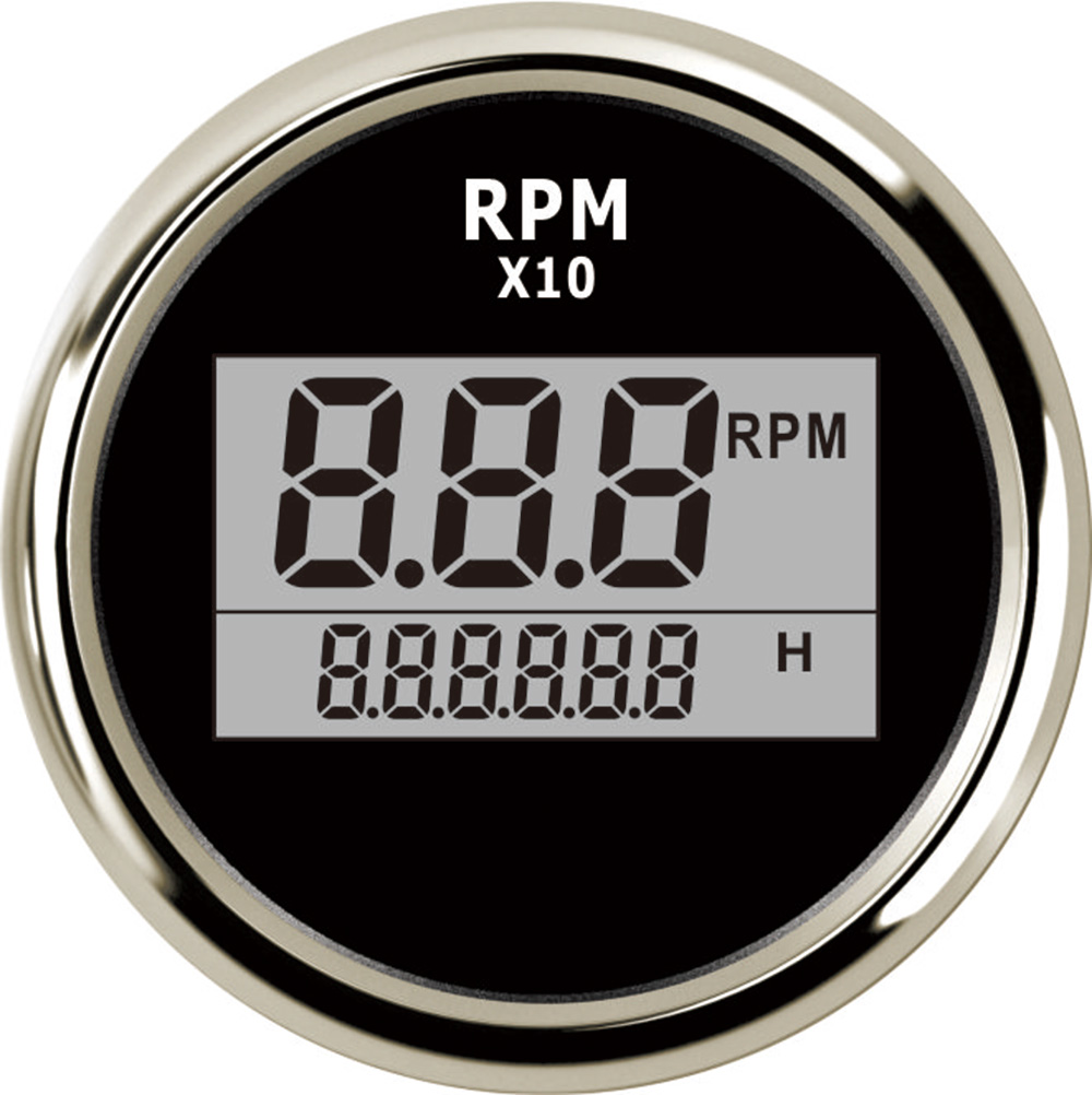Boat LED Digital Tachometer Engine Hourmeter Marine Outboard Truck Car RV Waterproof RPM Meter Waterproof 0-9990RPM 52mm kus marine outboard tachometer with led hourmeter boat truck car rv waterproof rpm meter 6000 rpm 85mm speed ration 1 10