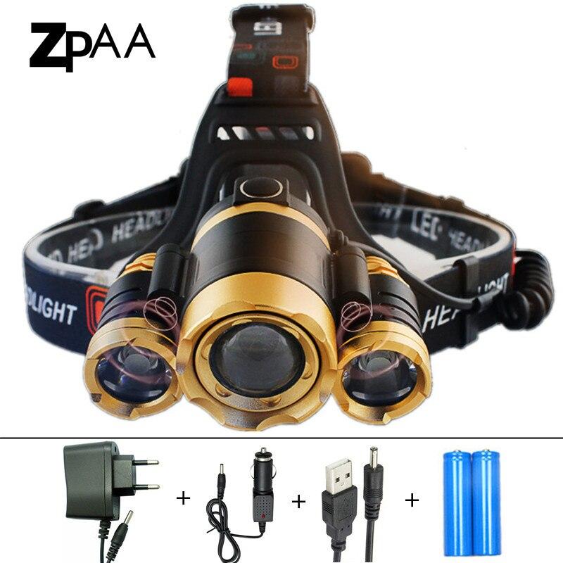 ZPAA 2017 Rotate Focus Induction Headlight IR Sensor Head Lamp Rechargeable Lantern CREE XM L T6 Headlamp Flashlight Head Torch