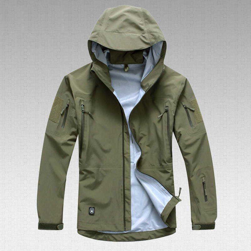 Outdoor Waterproof Hard Shell Tactical Jacket Spring Autumn Thin Breathable Camo Coat Men Climbing Army Training Combat Clothes