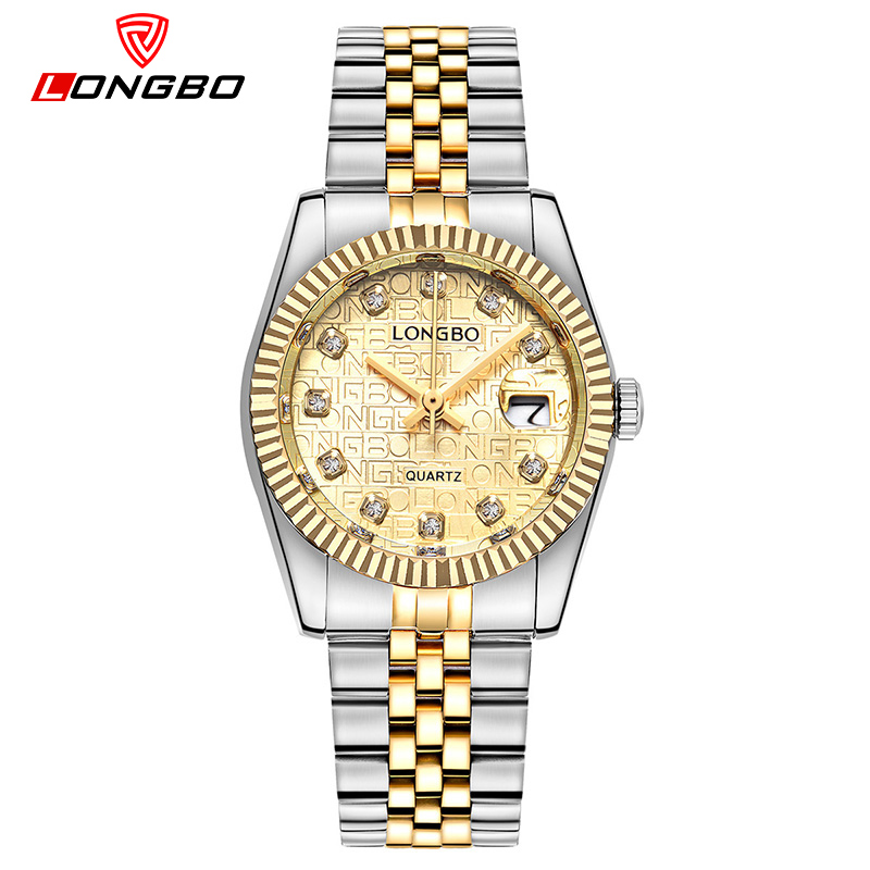 Top Brand Luxury Gold Quartz Watches Wome LONGBO Stainless Steel Girl Wrist Watch Ladies Clock Classical Relogio Feminino new hot sale product longbo men watches luxury brand top grade gold stainless steel watch with quartz movement male clock 5061