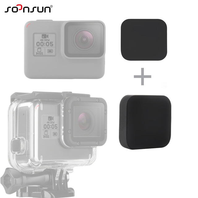 cb0e9c8ca SOONSUN 2 in 1 Black Soft Silicone Gel Rubber Lens Cap Protective Lens  Cover for GoPro