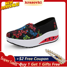 Krasovki Slip on Sneakers Women Platform Flats Rocking Shoes Wedge For