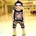¡ CALIENTE! 2017 ropa de los niños del comercio tiger head chaleco + pantalones de leopardo tigre traje chándal ropa de hip hop 7 minutos de pantalones