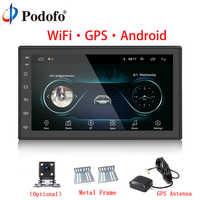 """Podofo Auto Multimedia Player Andriod GPS di Navigazione 2DIN HD Autoradio WiFi USB FM 2 Din 7 """"Car Audio Radio stereo di Sostegno del Monitor"""