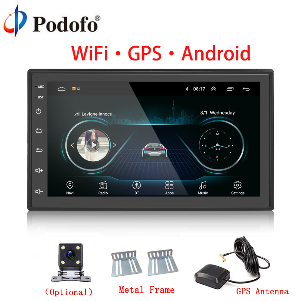 "Podofo Car Multimedia Player Andriod GPS Navigation 2DIN HD Autoradio WiFi USB FM 2 Din 7"" Car Audio Radio Stereo Backup Monitor"