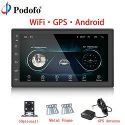 Podofo Car Multimedia Player Andriod GPS Navigation 2DIN HD Autoradio WiFi USB FM 2 Din 7