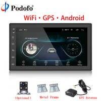 "Podofo lecteur multimédia de voiture android GPS Navigation 2DIN HD Autoradio WiFi USB FM 2 Din 7 ""voiture Audio Radio stéréo moniteur de sauvegarde"