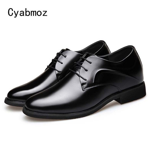 Cyabmoz Genuine Leather 6 cm Elevator Casual Dress Shoes Business Office British Style Men Wedding Shoe Height Increasing Shoes