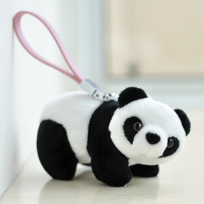 Stand Cute Panda Keychain Key Ring Leather Rope Women Bag Accessories Charm Pendant Plush Stuffed Toy Panda Jewelry Ethnic Gift