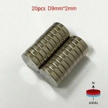 20 шт./упак. 9 мм x 2 мм N50 магнитные материалы неодимовые мини маленькие круглые Дисковые магниты горячая распродажа
