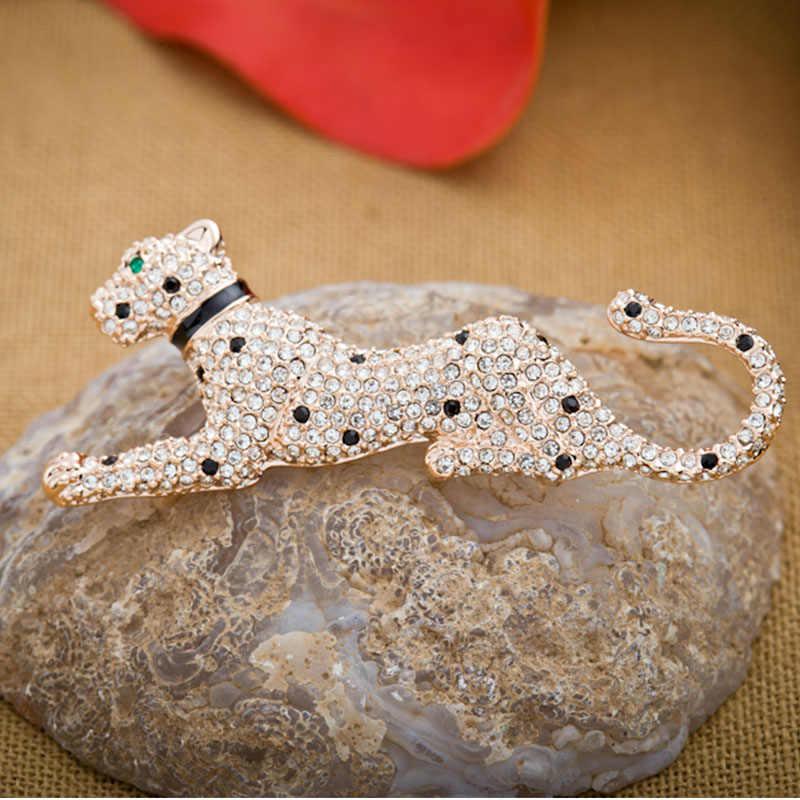2019 Único Leopard Broche Para As Mulheres Ou Homem Exquisite Alloy Strass Broche de Pino de Corpete de Moda Ornamento Cachecol Clipe