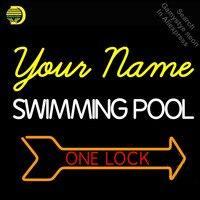 Custom Swimming Pool Neon Sign one lock Arrow GLASS Tube Handcraft Light Signs custom Text logo personalized Art neon lamps