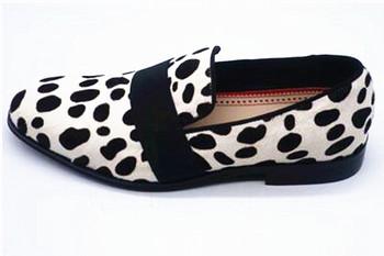 SHOOEGLE nowy leopard z włosia końskiego mokasyny męskie buty w stylu casual białe Slip-On Gentleman buty do biura niskie obcasy buty ślubne męskie tanie i dobre opinie Dla dorosłych Przypadkowi buty Gumowe Syntetyczny Oddychająca Wodoodporna Zima 18209 Pasuje prawda na wymiar weź swój normalny rozmiar