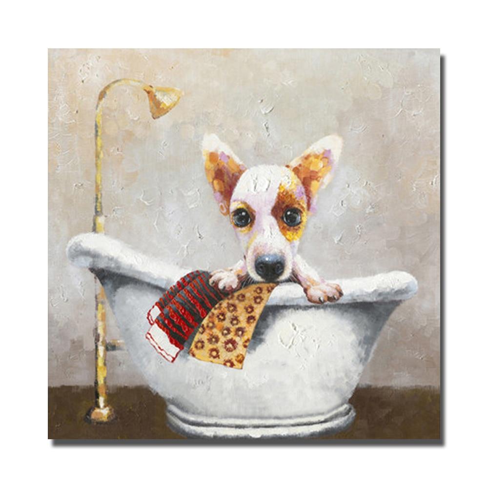 Modern Cute Dog In The Bathtub No framed or With framed ...