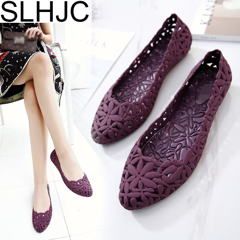 SLHJC 2017 Summer Flats Cool Sandals Flat Heel Pointed Toe Cutout Jelly Shoes Durable Wear Sandals Beach Travel Shopping Shoes women t strap moccasins flat shoes low heel sandals black gray pink pointed toe ballet flats summer buckle zapatos mujer z193