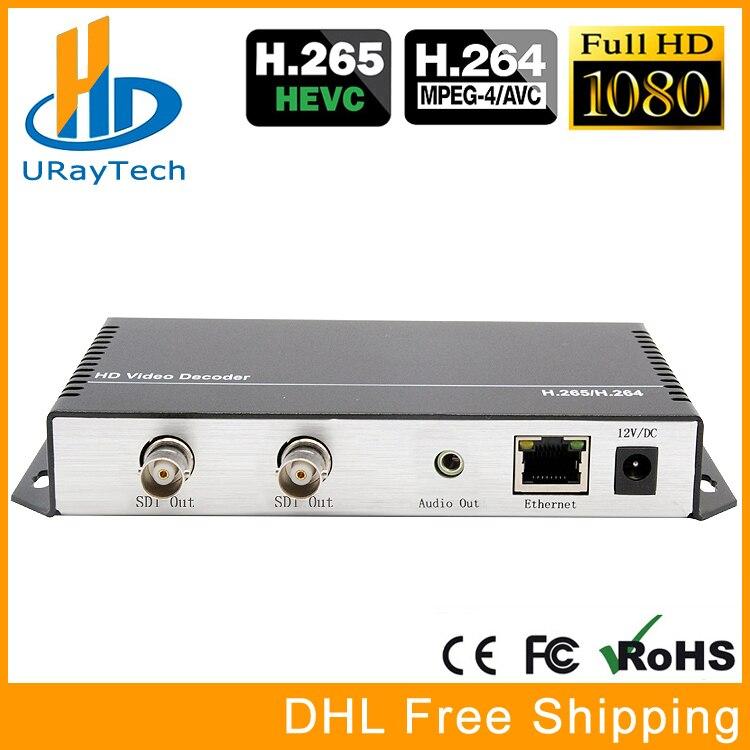 HD 3G SDI Decodificador Decodificador De Áudio E Vídeo Streaming de IP Para HD-SDI 3G-SDI H.265 H.264 HTTP UDP RTMP RTSP HLS ao Conversor SDI