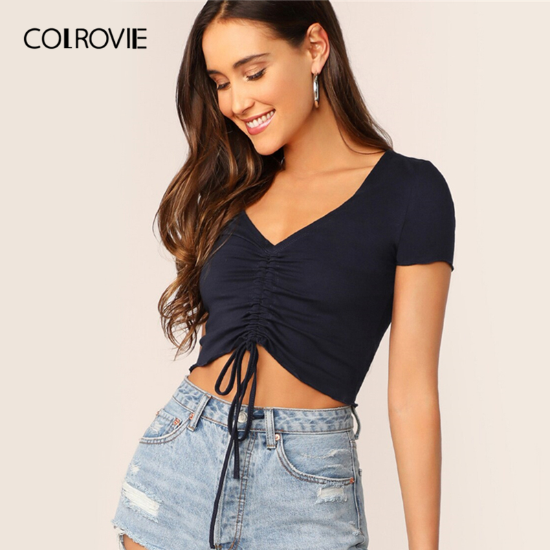 COLROVIE Solid Ruched Drawstring Front Crop Tee Summer Top For Women Clothes 2019 Sexy V Neck Cap Sleeve Ladies Slim Fit T-Shirt