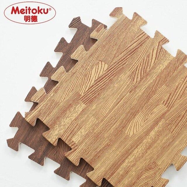 Meitoku Soft EVA Foam puzzle 크롤링 매트, 10pcs 목재 연동 바닥 타일, 어린이, 거실, 체육관 용 방수 깔개 각: 32X32cm
