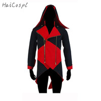 Assassins Creed Cosplay Kostüm Adam Ceket Conner Kenway Coat Plus size Beyaz Siyah Kırmızı Mavi Ceket Ile Şapka Gösterisi Elbise