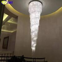 FUMAT Modern Spiral K9 Crystal Chandelier For Staircase Lustre Crystal Chrome Finished Lighting Fixtures LED Crystal