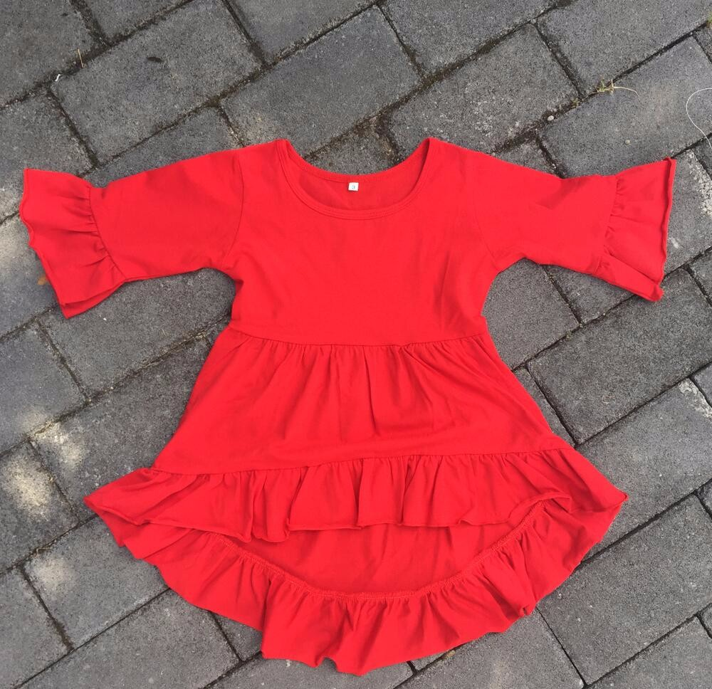 95e40fd88089d Wholesale baby girls icing ruffle tops children cotton high low shirts kids  3/4 sleeve solid colors shirts-in Dresses from Mother & Kids on  Aliexpress.com ...