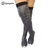 Crystals Knitting Sock Boots Sport Flat Black Handmade Fall Winter Small Crystals All Over Sock Sneakers Thigh High Botas