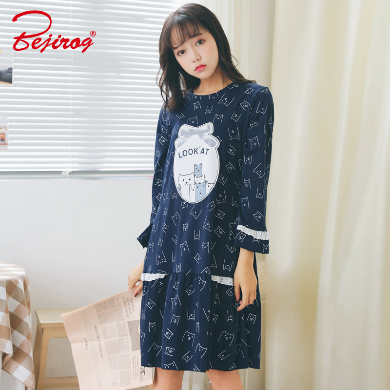 Bejirog women s sleepwear nightdress animal cotton nightgowns sleepshirts  in autumn long sleeve lounge for kids girls plus size-in Nightgowns    Sleepshirts ... ebeca562b