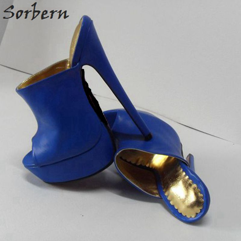 Sorbern Plus Size 2018 Women Slippers Blue PU High Heels Ladies Party Slippers Peep Toe Slides Peep Toe 16cm Fashion Shoes sorbern 16cm gold heels ankle straps peep toe platform shoes women size 32 52 party shoes for women heels ladies heel shoes