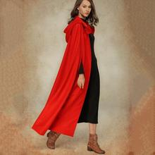 Autumn Casual Gothic Plus Size Black Women Capes Red Button Hooded Plain Fall 2019 Female Goth Fashion High Street Chic Coats(China)