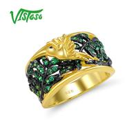 VISTOSO Gold Plated 925 Sterling Silver Rings Round Green Spinel Party Engagement Wedding Anniversary Ring For Women Sterling