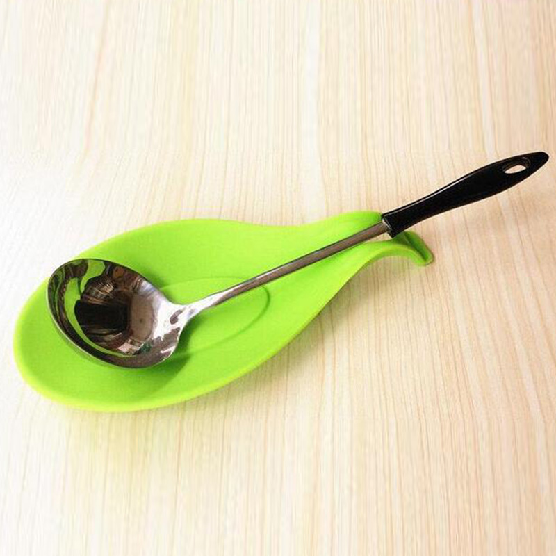 19.5*9.5cm Spoon Silicone Holder Cooking Tool Rest Spatula Kitchen Resistant Utensil Pad random color