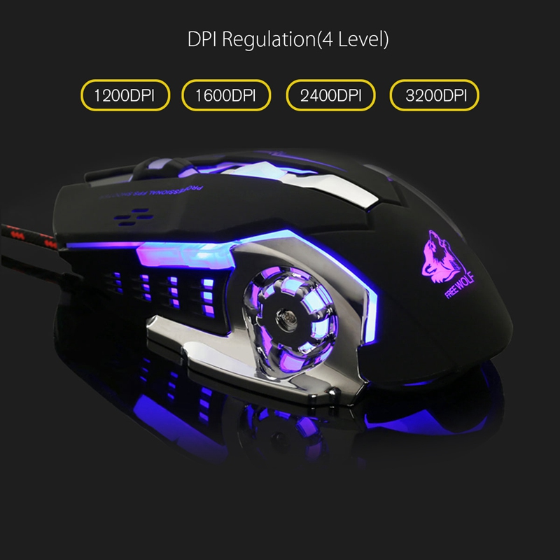все цены на  Backlight Gaming Mouse 3200DPI 6 Button LED Optical Mouse Macro Programmable Mause Computer Mouse Gamer PC for LOL Laptop  онлайн